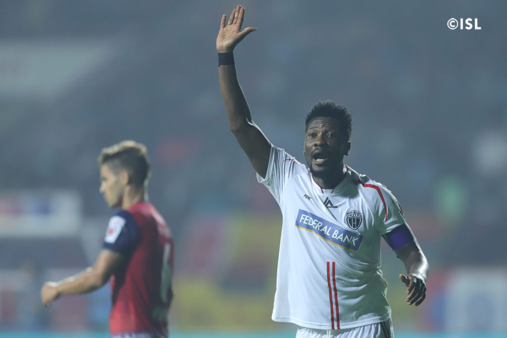 High-flying Asamoah Gyan provides assist as NorthEast United draw against Jamshedpur