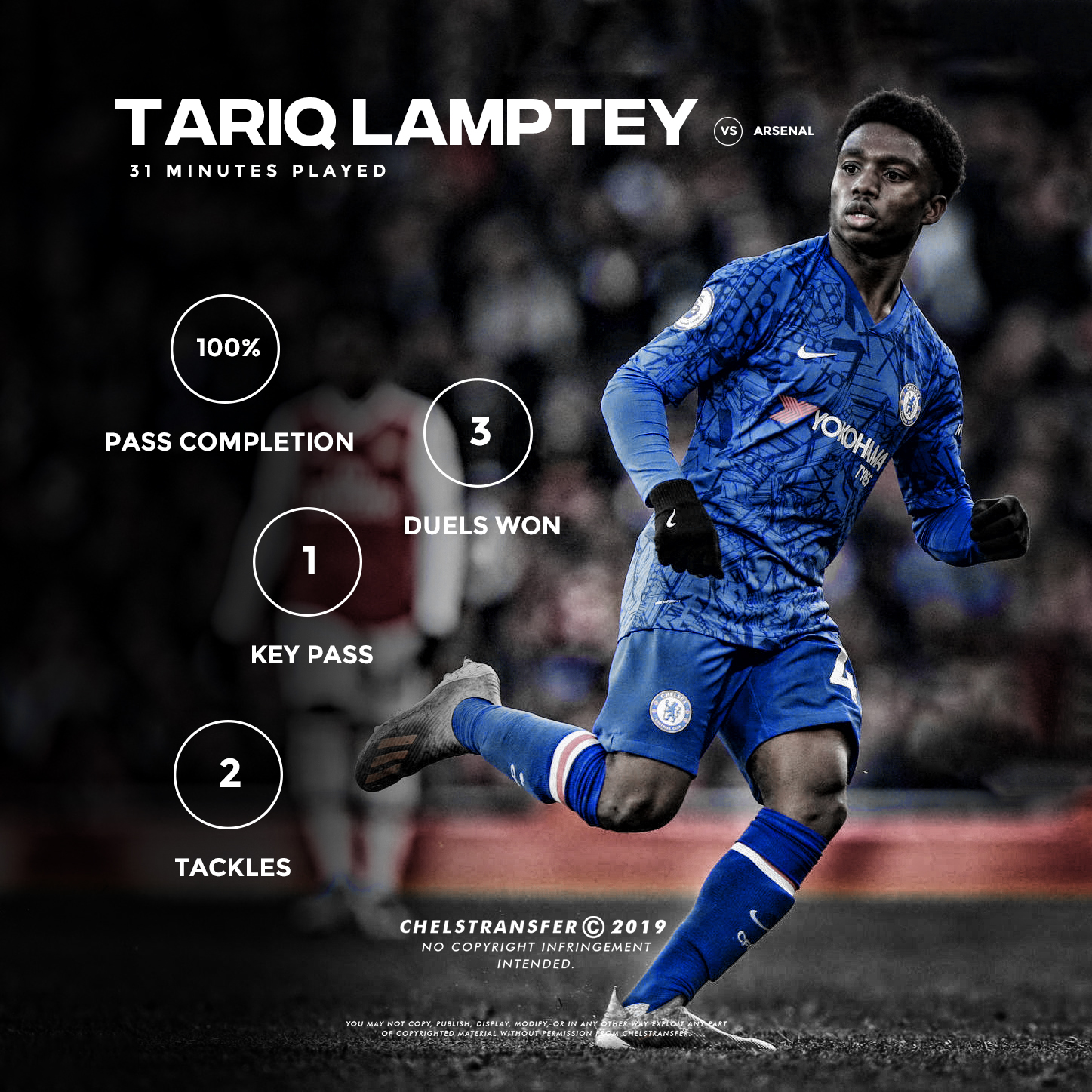 Tariq Lamptey marks his debut for Chelsea's senior team