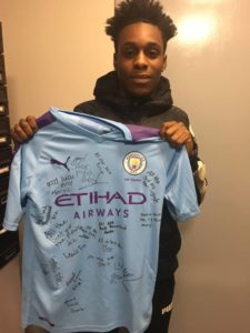 Manchester City sends Jeremie Frimpong a signed jersey ahead of his Glasgow derby