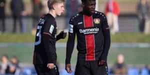 Ghanaian striker Kingsley Sarpei in action as Leverkusen lose to Juventus