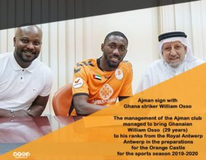 William Osso's brace help Ajman to draw 2-2 against Al Nsour