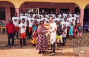 Photos: Legon Cities visits orphanage to make donations