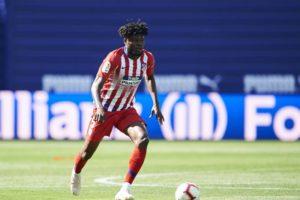 Ghanaian midfielder Thomas Partey in action as Atletico Madrid lose at Eibar
