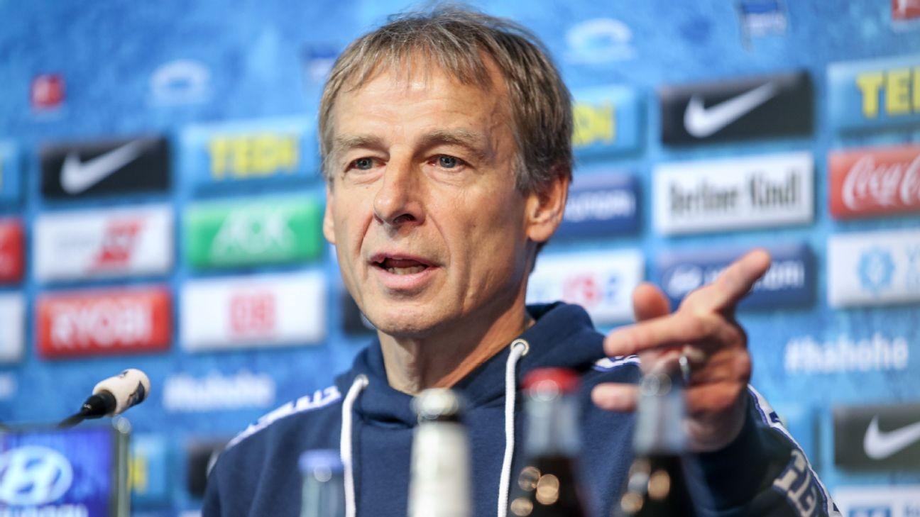 Jurgen Klinsmann leaves Hertha Berlin after less than three months in charge