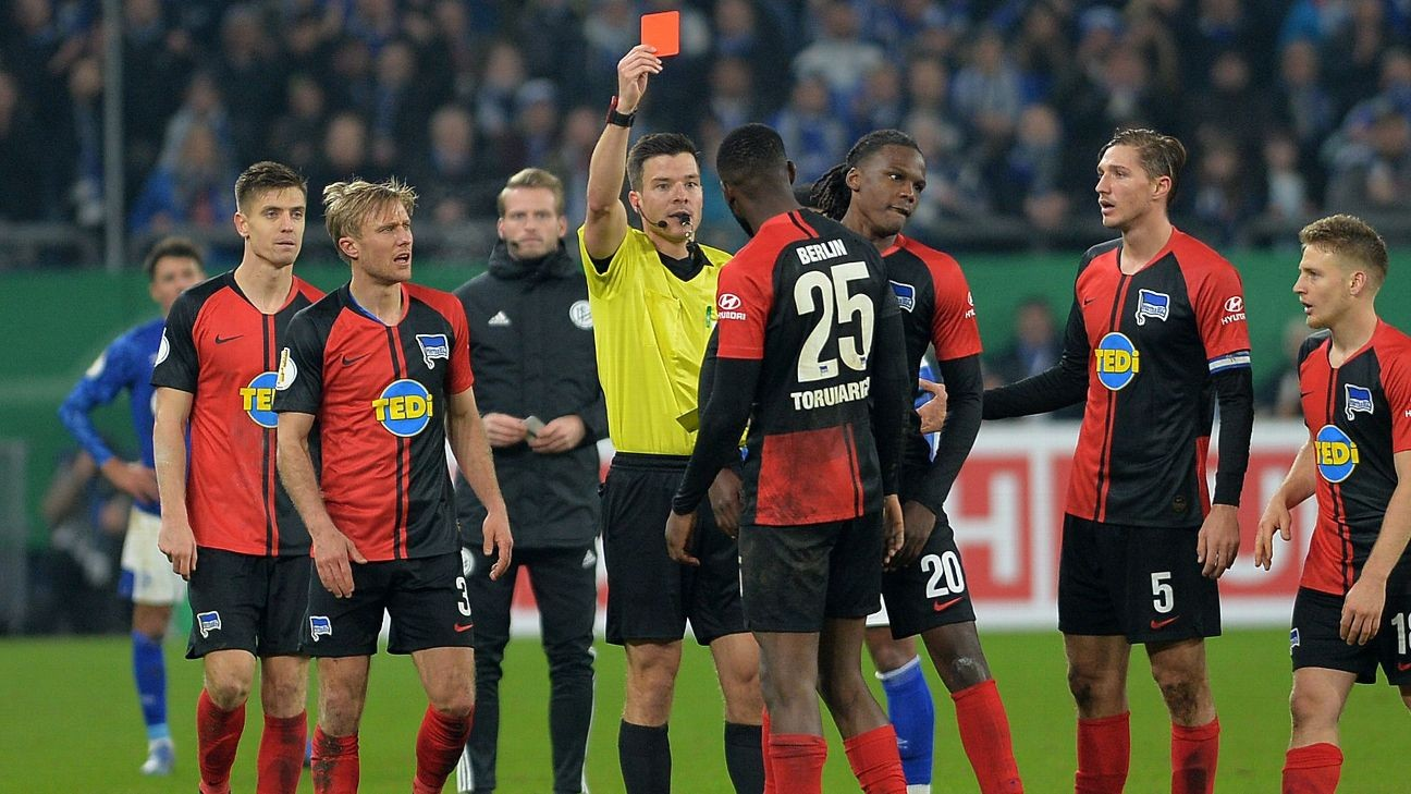 Hertha defender Torunarigha sent off after receiving racist abuse