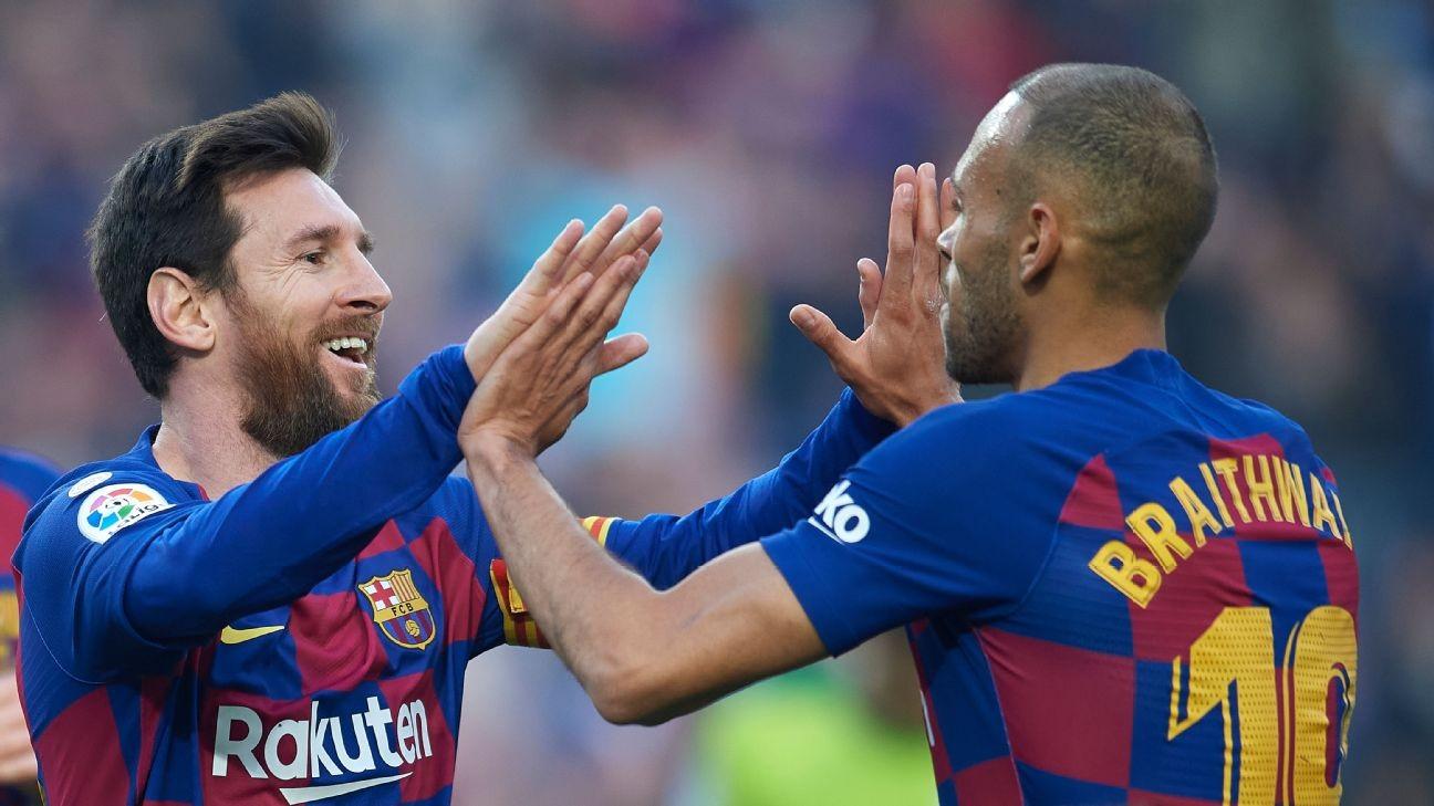 Barcelona's Braithwaite: 'I won't wash my kit' after Messi hug