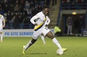 Ghanaian striker Dan Agyei scores for Oxford United against Burton Albion