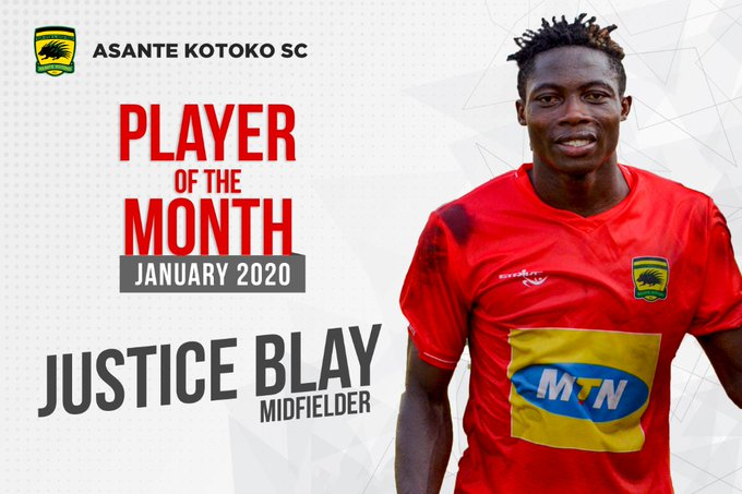 Justice Blay wins Asante Kotoko Player of the Month for January