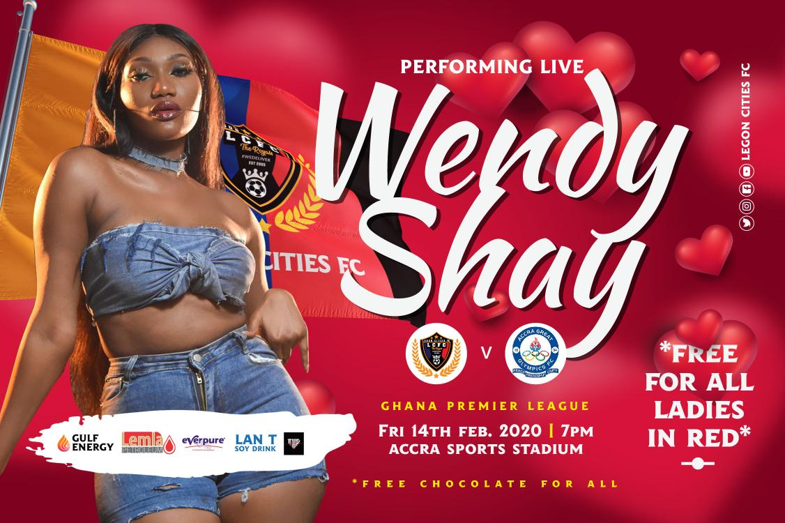 Wendy Shay backs Legon Cities to beat Olympics 4-0 tomorrow; calls on 'hot' girls to troop to the stadium