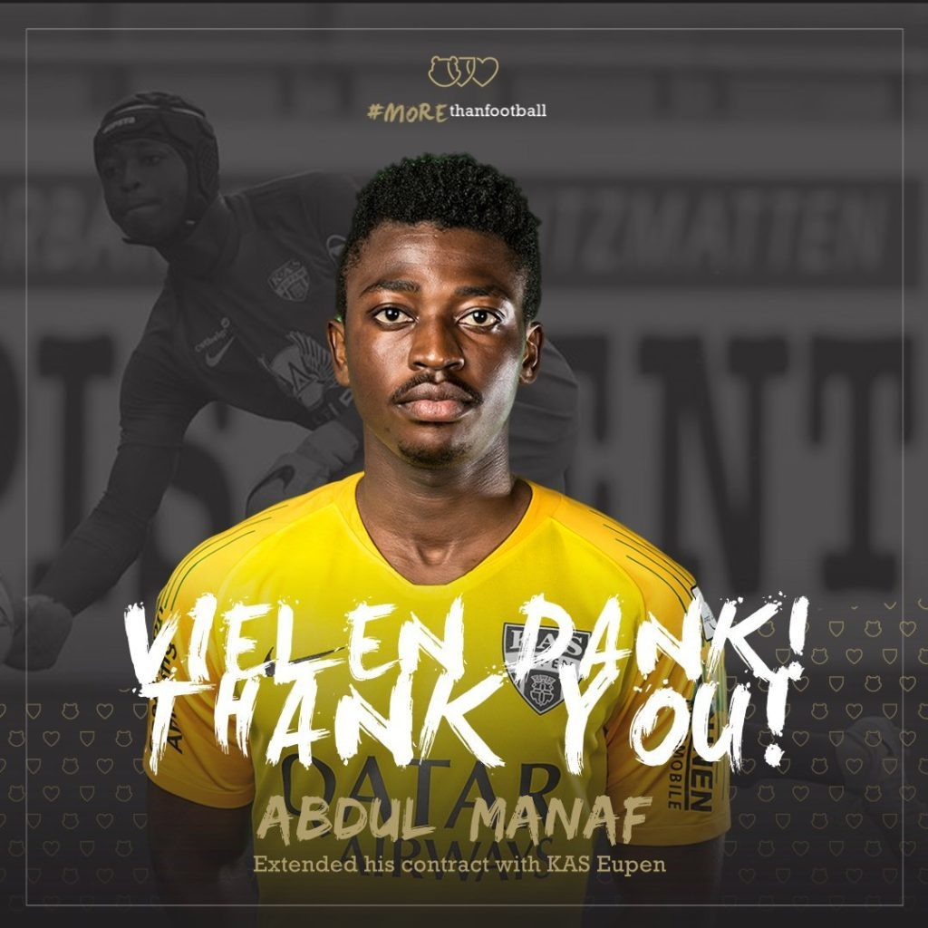 Ghanaian goalkeeper Abdul Manaf Nurudeen signs new KAS Eupen contract
