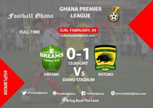 Ghana Premier League matchday 9 report: Kotoko beat ten-man Dreams in Dawu