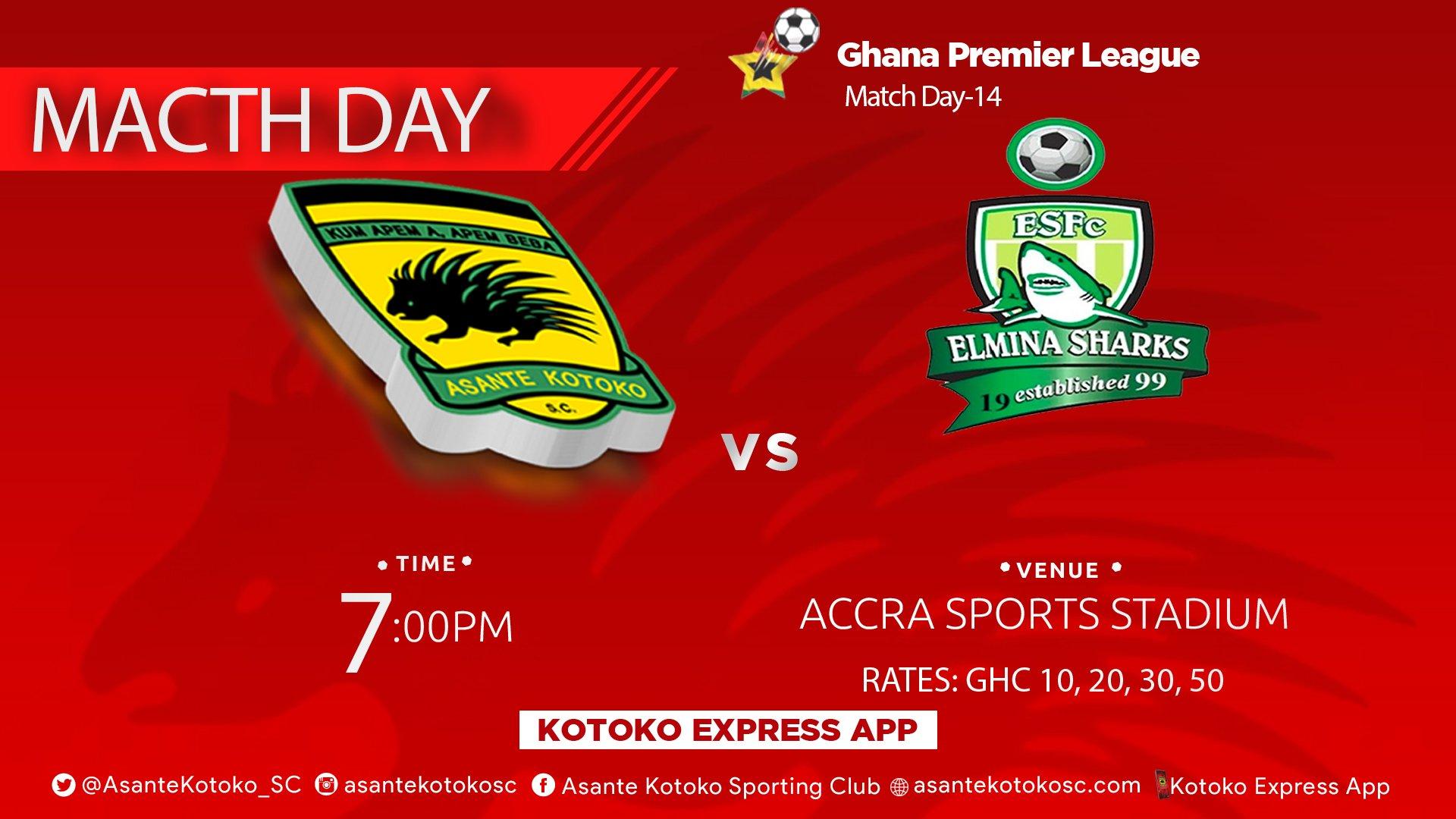 Asante Kotoko vs Elmina Sharks - Confirmed starting lineups