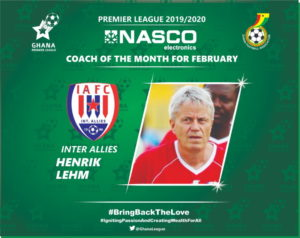 Inter Allies gaffer Henrik Lehm adjudged Febuary NASCO coach of the month