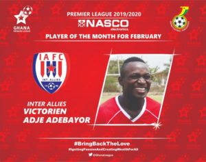 Inter Allies captain Victorien Adebayor wins February NASCO Player of the Month award