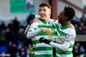 Jeremy Frimpong clash with Celtic teammate Michael Johnston over who wins more duels in training