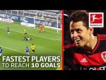 Top 10 Fastest Players to Score 10 Goals - Alcacer, Chicharito, Haaland & More
