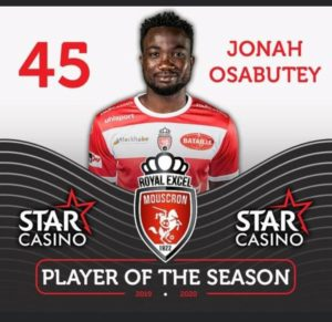 Jonah Osabutey announced as player of the season for Royal Excel Mouscron