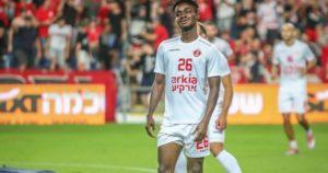 Ghanaian midfielder Emmanuel Boateng in action as Hapoel Tel Aviv thrash Hapoel Ashkelon in friendly
