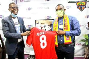 PHOTOS: Hearts of Oak gives out branded jersey to ace broadcaster Bernard Avle