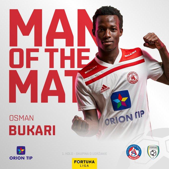 Osman Bukari adjudged MoTM in AS Trenčín's win against FK Senica