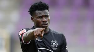 Kelvin Ofori plays in Fortuna Dussledorf's 2-2 draw against Hoffenheim