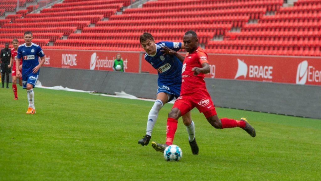 Gilbert Koomson scores in SK Brann's 3-2 defeat to Molde