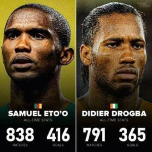 Eto'o and Drogba: Make the top 25 highest goalscorers list for club and country in the last 2 decades