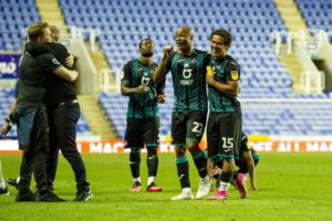 Kudus Mohammed congratulates Andre Ayew after Swansea City qualification for EFL Championship playoff