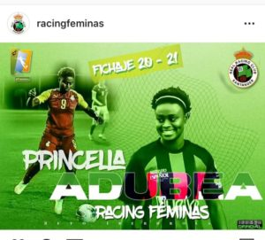 Princella Adubea feeling ecstatic after signing for Spanish side Racing Femenino