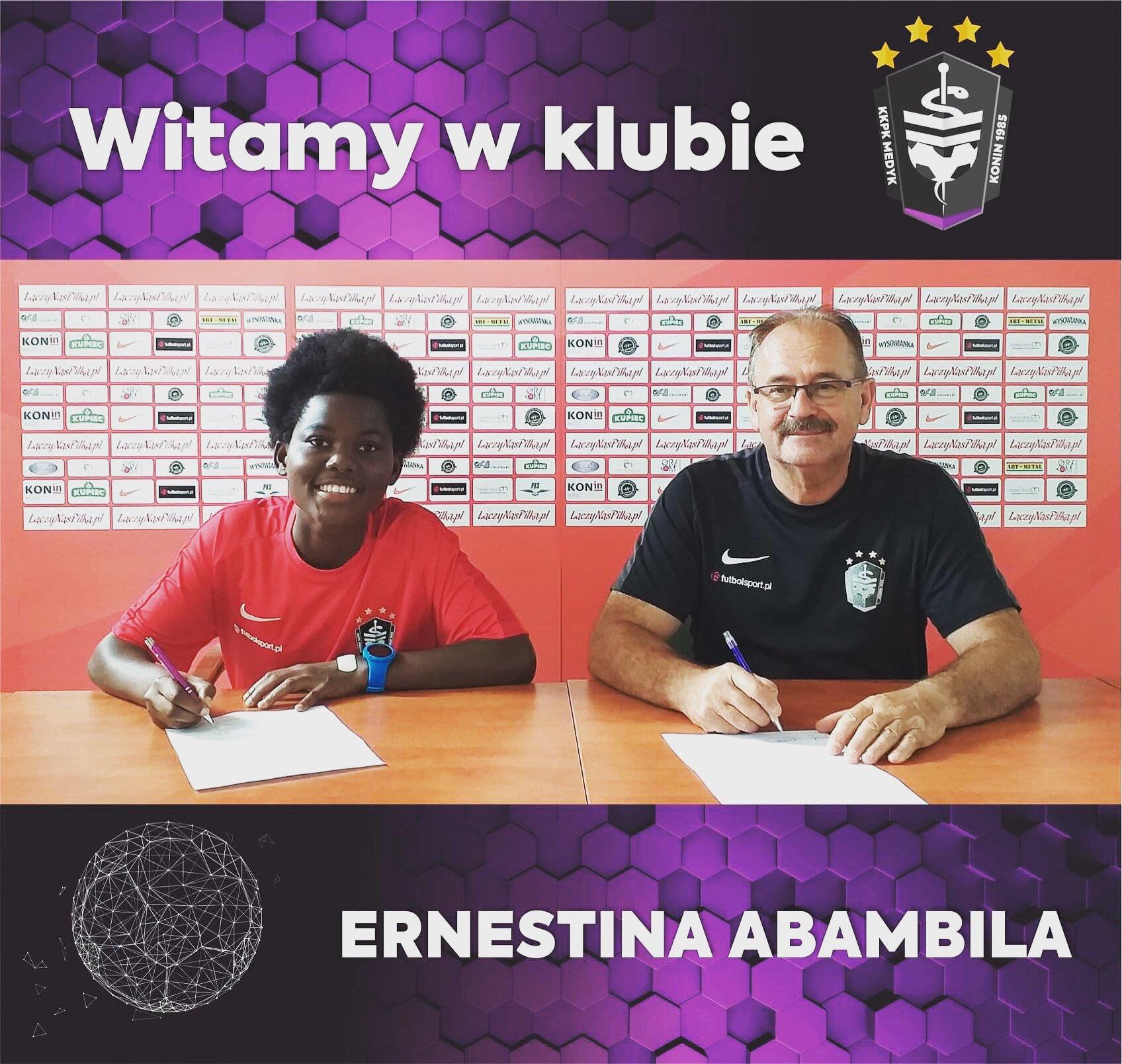 Tony Baffoe congratulates Ernestina Abambila on her transfer to Polish side KKPK Medyk Konin