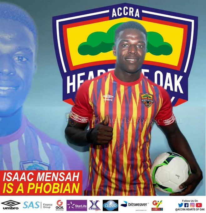 OFFICIAL: Hearts of Oak sign Isaac Mensah from Division One side Nkoranza Warriors