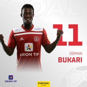Osman Bukari high on the top scorers chart in Slovakia's Fortuna Liga