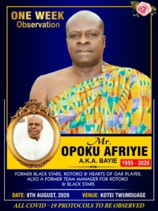 Family of Opoku Afriyie to hold one-week observation on August 8