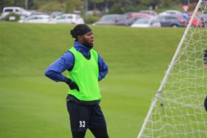 Ghanaian forward Claudio Ofosu trains with Hartlepool United teammates for the first time