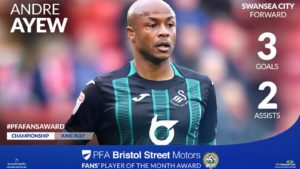 Ghana captain Andre Ayew nominated for Championship Player of the month award