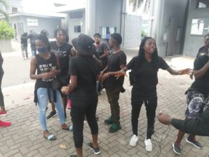 PICTURES: Black Queens picket to Sports Ministry to demand unpaid bonuses