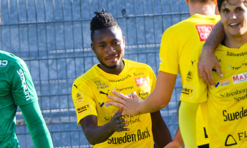 Mamudu Moro scores twice for Mjallby AIF in the Swedish Cup