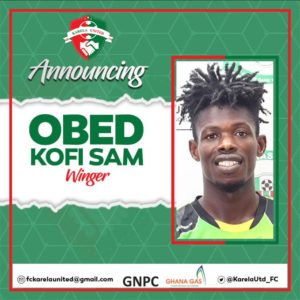 Karela United seal signing of winger Obed Kofi