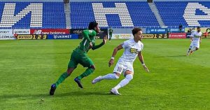 Youngster Najeed Yakubu receives red card while in action for Vorskla Poltava