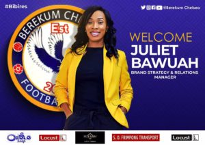 Juliet Bawuah appointed as Berekum Chelsea brand strategy & relations manager