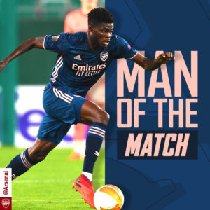 Thomas Partey's masterclass performance earns him MoTM award against Rapid Vienna