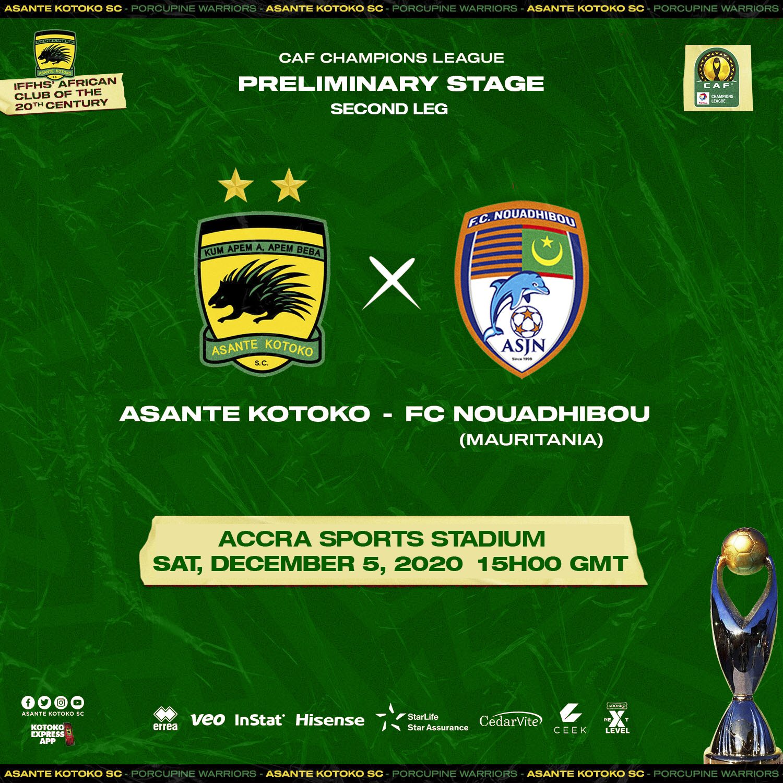 20/21 CAF Champions League: Kotoko to stream FC Nouadhibou game on Ceek