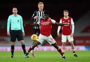 Thomas Partey sets up Aubameyang to score in Arsenal's 3-0 win against Newcastle United