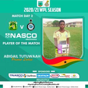 Ghana Women's Premier League: Abigail Tutuwaa scores as Prisons Ladies pip Ashtown Ladies in Kumasi