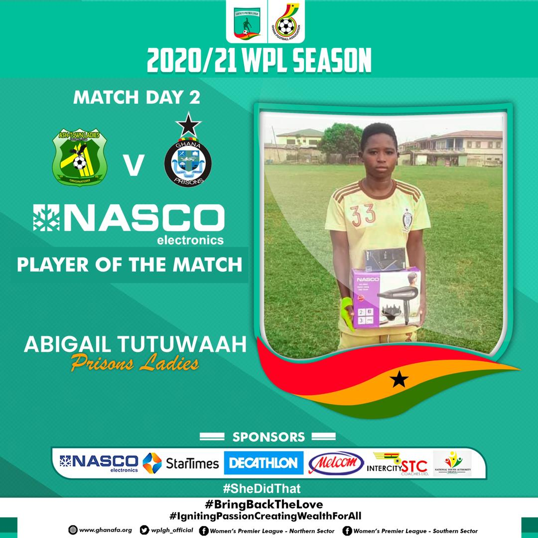 Ghana Women's Premier League: Abigail Tutuwaa scores as Prisons Ladies pip Ashtown Ladies in Kumasi