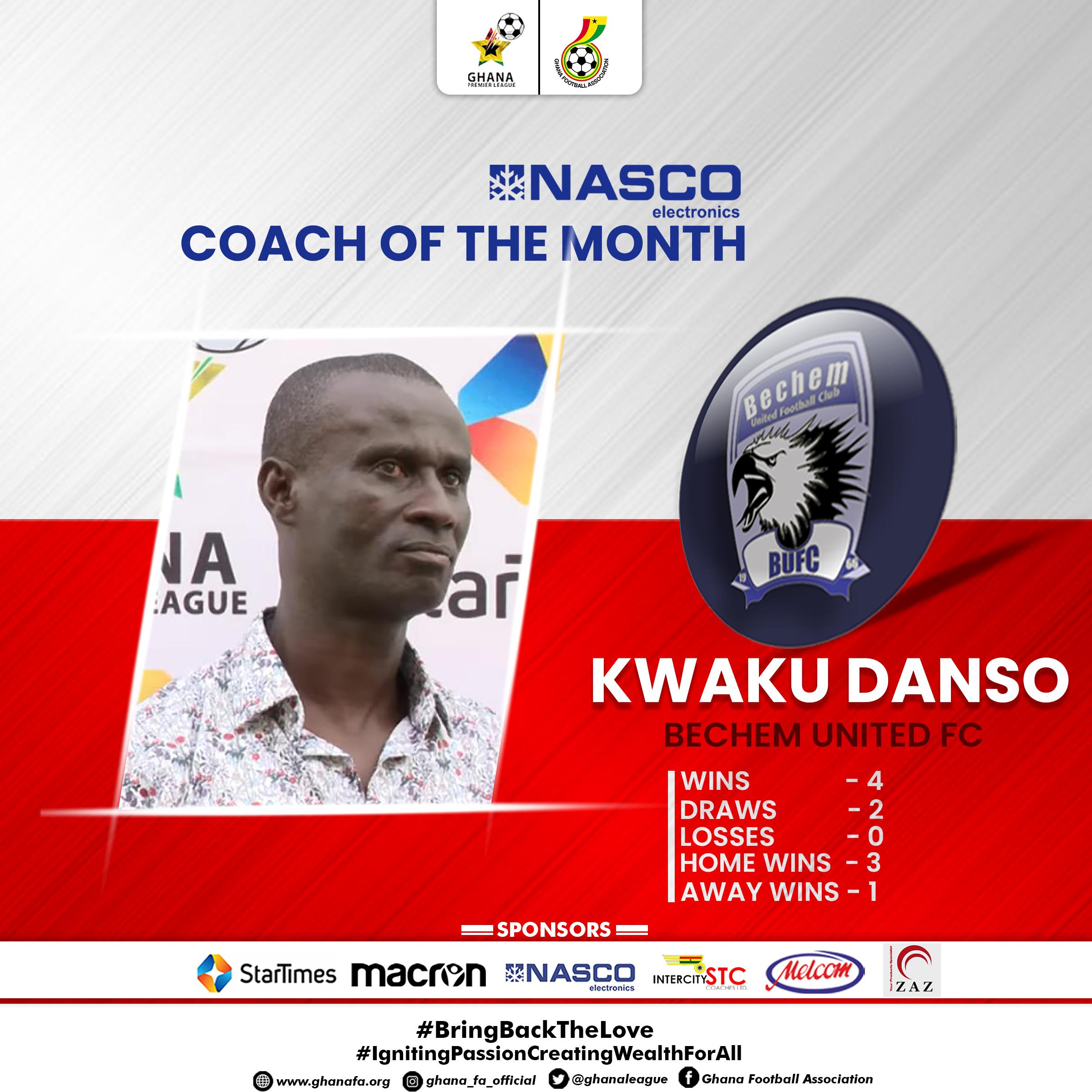 2021 Ghana Premier League: Kwaku Danso adjudged December NASCO Coach of the Month