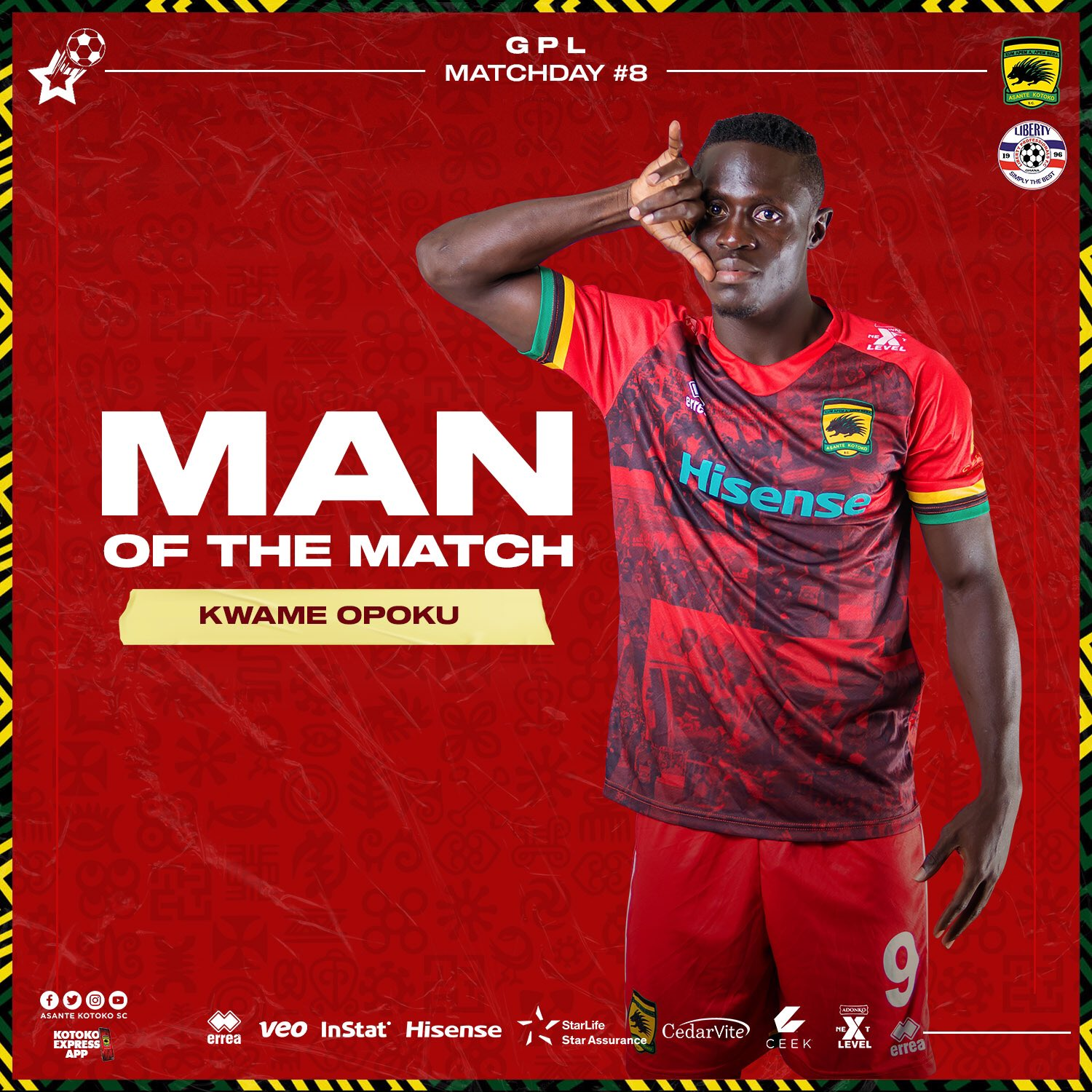 Striker Kwame Opoku named MoTM after netting brace to hand Kotoko victory against Liberty