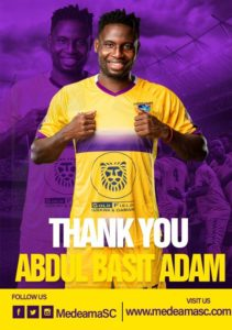 Medeama SC mutually part ways with forward Abdul Basit Adam