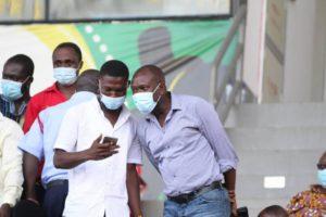Black Stars coach CK Akonnor at Cape Coast stadium to watch Ebusua Dwarfs' match against Kotoko