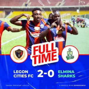 20/21 Ghana Premier League matchday 16: Hans Kwofie hits brace to power Lego Cities to beat Sharks 2-0